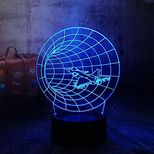 Ilusión óptica 3D Night Light Time Machine Avión Cros Family redlll 7 colores Switch USB Power Table Kids Toys Decoración Decoraciones Christmas Valentines Gift Birthday Gift