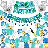 Cumpleaños decoración Fiesta maridaset 68 Pieza niño Azul Feliz cumpleaños guirnaldas Globos Estrella Diapositiva Globos con Bomba Fiesta Deco Set Decoración navideña Claro Azul Azul Azul Oro 商品名称