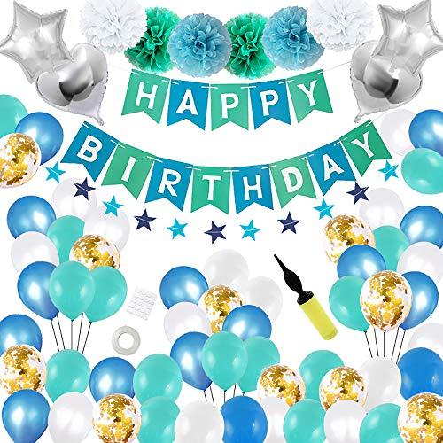 68 Stück Geburtstagsdeko Junge Happy Birthday Girlande Kindergeburtstag Luftballons Blau Seidenpapier Pompons Luftballons Stern und Herz Folienballons mit Pumpe Party deko Set Hellblau Weiß Blau Gold