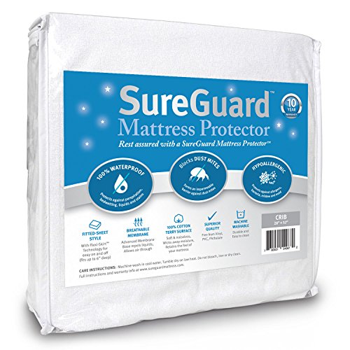 SureGuard Crib Size Mattress Protector - 100% Waterproof, Hypoallergenic - Premium Fitted Cotton Terry Cover