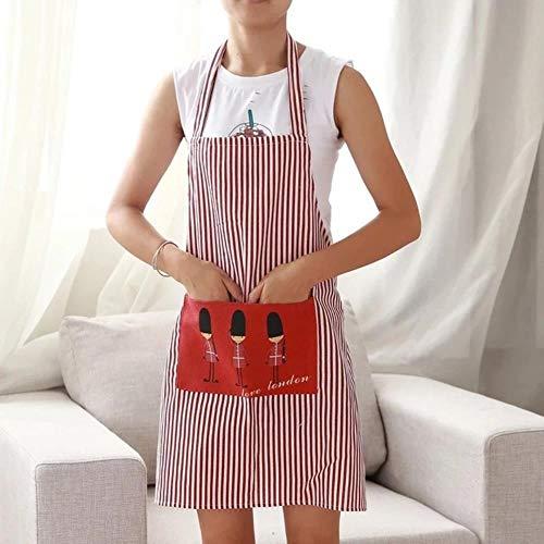 Pun Delantal de lino a rayas con bolsillos Cafe Waiter KitPun Cook Herramientas del Hogar KitPun Delantal