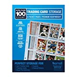 Samsill 100 Pack Trading Card Sleeves, Ultra Clear and Heavy Duty with Clean Welds, Fits in Standard 3 Ring Binder, Holds 900 Cards