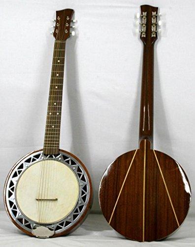 Musikalia Luthery - Guitarra banjo para zurdos (incluye estuche de aluminio, parte trasera de caoba con incrustaciones de arce)