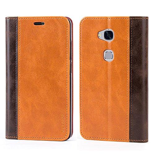 Mulbess Handyhülle für Huawei Honor 5X Hülle Leder, Honor 5X Handytasche mit BookStyle Flip Schutzhülle für Huawei Honor 5X Hülle, Braun