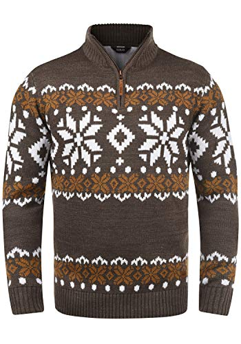 !Solid Norwin Herren Weihnachtspullover Norweger-Pullover Winter Strickpullover Troyer Grobstrick mit Stehkragen, Größe:M, Farbe:Coffee Bean Melange (8973)