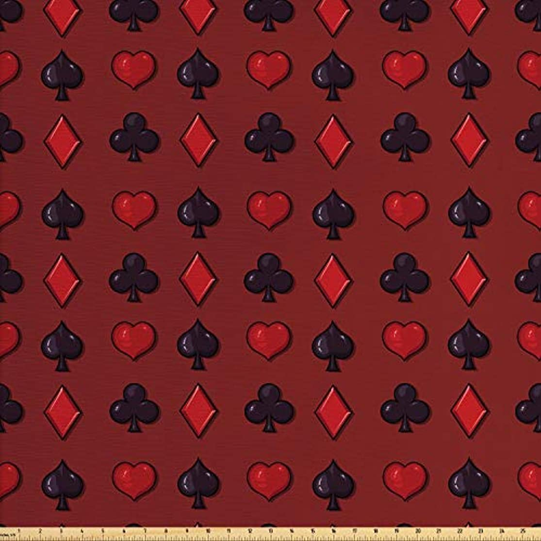 Lunarable Poker Fabric by The Yard, Suits of Cards Pattern with Clubs Spades and Hearts on an Abstract Red Background, Decorative Fabric for Upholstery and Home Accents, 2 Yards, Ruby Black nqjvvukp8