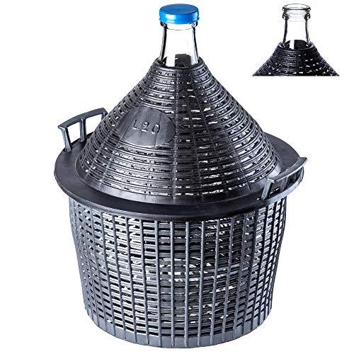 KADAX Glasballon, Gärballon mit Kunststoffkorb, Gummistopfen, schmale Öffnung, Weinballon, Flasche, Glasflasche, Gallone, Gärbehälter, Glasgärballon, Gäreimer (20L)