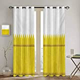 DONEECKL Yellow Room Darkened Heat Insulation Curtain Colorful Wooden Picket Fence Design Suburban Community Rural Parts of Country Soundproof Shade W84 x L96 Inch Yellow Mustard