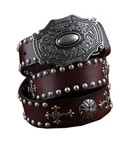 H&W Hombre Marrón Retro Cuero Verdadero Tachuelas Cinturón 38mm Cowboy Cinturón con Tachuelas