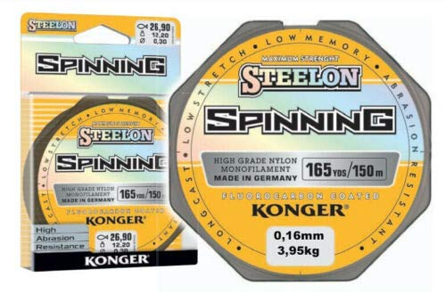 Konger Steelon Spinning - Sedal de pesca con revestimiento de fluorocarbono, 0,12-0,30 mm/150 m, monofilamento (0,12 mm/2,60 kg)
