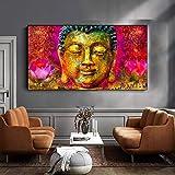 N / A Pintura al óleo Abstracta Impresa en Lienzo Golden Lord Buddha Flower Poster Wall Art Pictures para Sala de Estar Decoración para el hogar Sin Marco 30x60CM SIN Marco