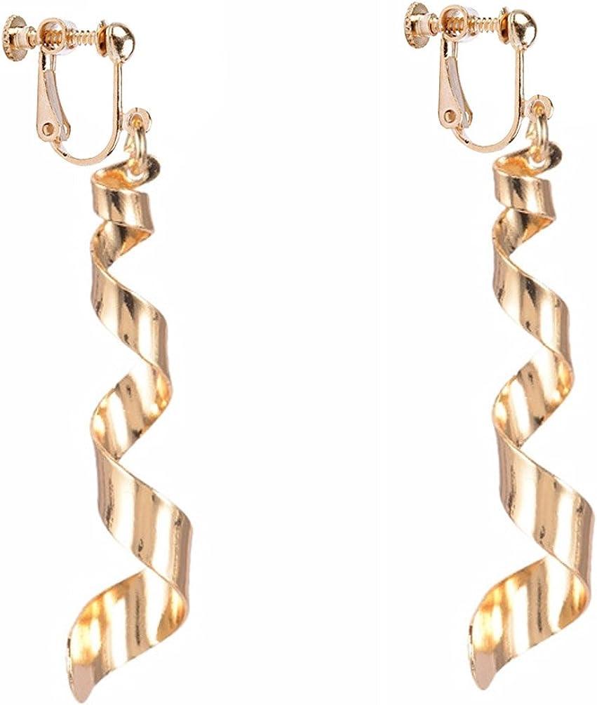 Dangle Earring Clip on Screw Back Lady Long Twist Wave Drop for Girls Kids Gold Plated