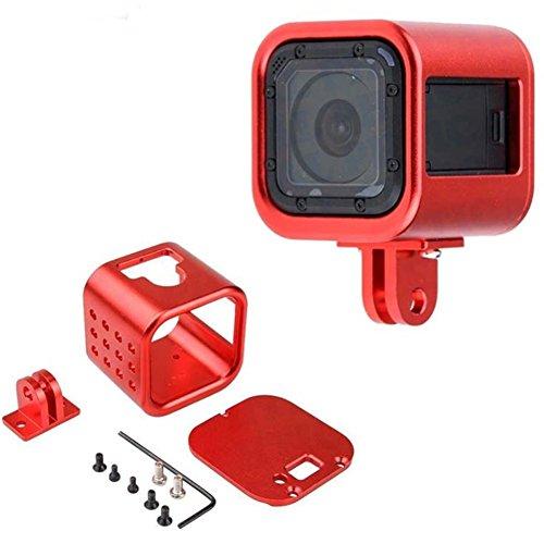 CNC Aluminum Alloy Housing Sport Camera Shell Box Frame Mount Prevent Overheating Case for GoPro Hero 5 Session/Hero 4 Session (Red)