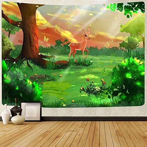 Tapiz de dibujos animados bosque Tapiz plantas verdes árbol selva pared tapices para sala de estar dormitorio decoración del hogar