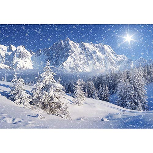 YongFoto 7x5ft Snow Mountains Photography Backdrop Winter Wonderland Forest Christmas Trees Blue Sky Background Snowflake Holiday Travel New Year Banner Kids Adults Portraits Photo Studio Props