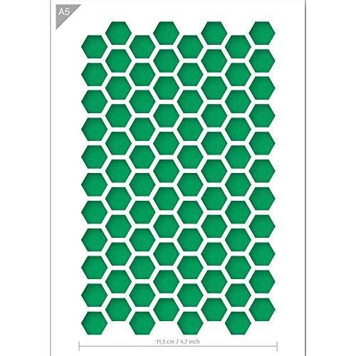 QBIX Sechseck Schablone - Wabenschablone - Muster Schablone - A5 Größe - Wiederverwendbare Kinder freundlich DIY Schablone für Malerei, Backen, Handwerk, Wand, Möbel