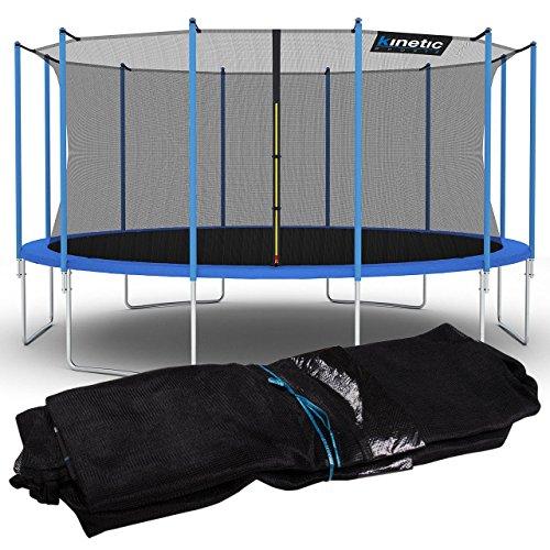 Kinetic Sports Sicherheitsnetz Trampolin Zubehör Ersatznetz für Gartentrampolin Ø ca. 490cm - Trampolin Zubehör - Trampolinnetz schwarz - UV-getestet - reißfest - Sprung-Schutz Jumper