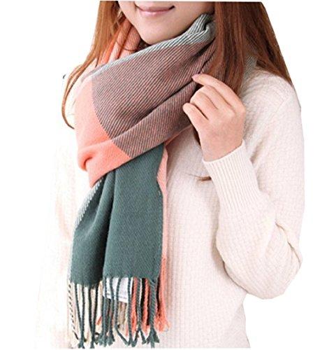 heekpek Mujeres caliente Mantas Cozy Pashmina bufanda larga tartán enrejado mantón (Rosa+Verde)