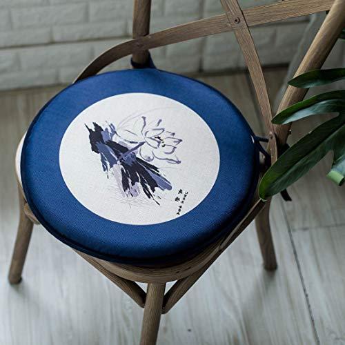 FuLov Cojín De Silla Cojín De Asiento, Juego De 2, Esponja De Lino, Cojín Cuadrado Redondeado 40 X 40cm Espesado para Oficina, Comedor De Jardín Al Aire Libre O Silla De Coche,Blue Round