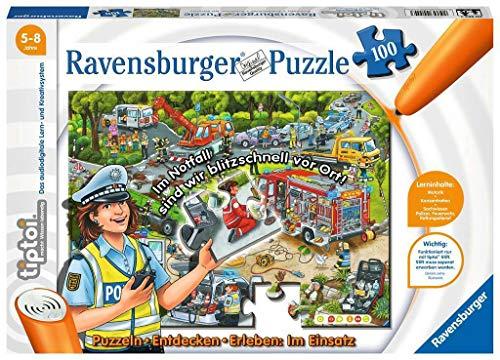 Ravensburger Tiptoi Puzzle « in Einsatz » - Découvrez & Expérimentez : Jeu varié de motricité, pour Enfants de 5 à 8 Ans - 100 pièces.