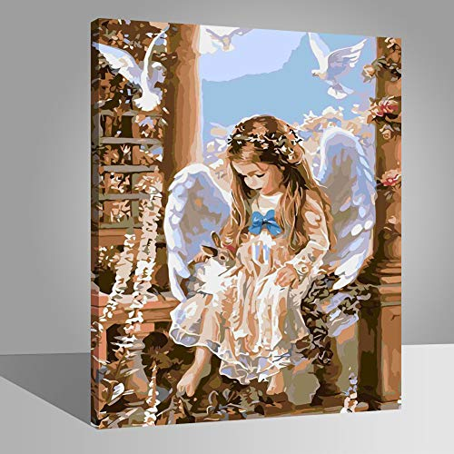LIUDAO DIY Oil Painting on Canvas Paint by Number Kit for Adults Kids Beginner - Angel Girl - 16x20 Inches Wooden Frame