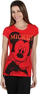 Disney Women's Mickey Mouse Laying Down Red Shirt (M)