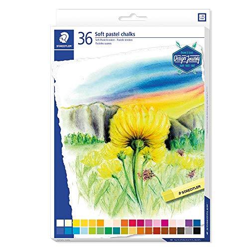 Staedtler Pastels tendres de qualité professionnelle, Couleurs lumineuses et facilement miscibles, Étui carton avec 36 couleurs assorties, 2430 C36
