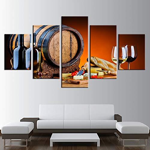 GYIHKLBS 5 piezas de pintura Impresiones en lienzo Pinturas Arte de la pared Decoración para el hogar Sin marco 5 piezas Uva Vino rojo Vasos Barriles de roble Imágenes Cocina Carteles, Sin marco, 30x40 30x60 30x80cm