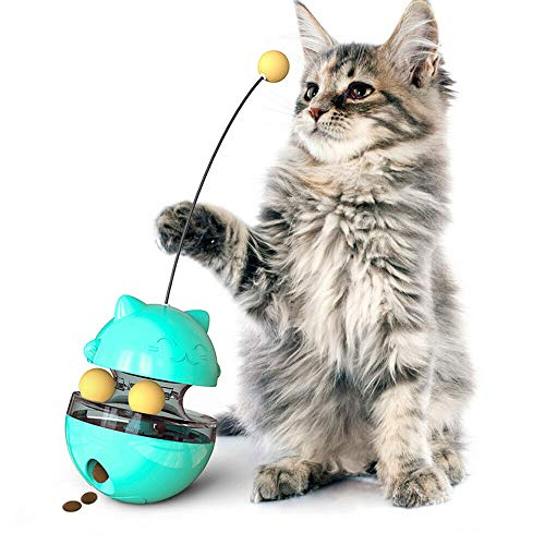 OKJH Funny Cat Interactive Toys Cat Self Teaser Stick Track Ball Tumbler Foods Ball *