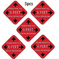 ACAO 5PCSはあなたの距離を保ちます-社会的目立たないサインPVCボードステッカーサイン(Color:C)