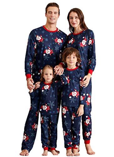 FEDPOP Matching Family Christmas Pajamas Sets Santa Claus Printed Christmas PJs for Holiday Sleepwear for Women/Men/Boys/Girls