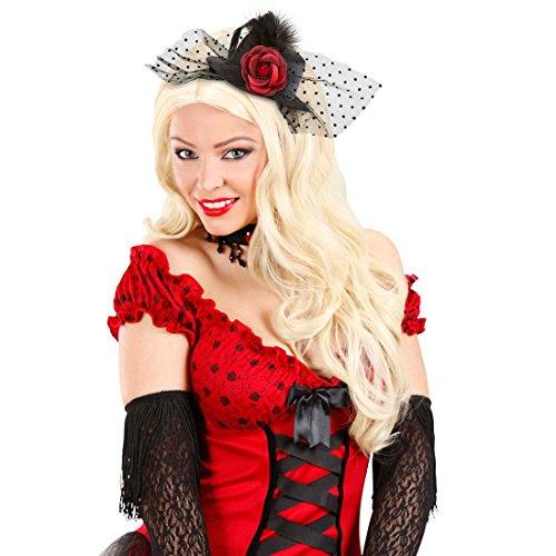 NET TOYS Rose Mini Zylinder Kleiner Gothic Hut Can-Can Minizylinder Saloon Girl Fascinator Schwarzer Burlesque Minihut Tänzerin Kostüm Zubehör