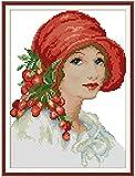 Kit de bordado de puntada Set Lady Impreso Contado 11CT Punto de cruz DIY Hecho a mano Reloj de pared de costura Sala de estar Decoraci¨n del hogar