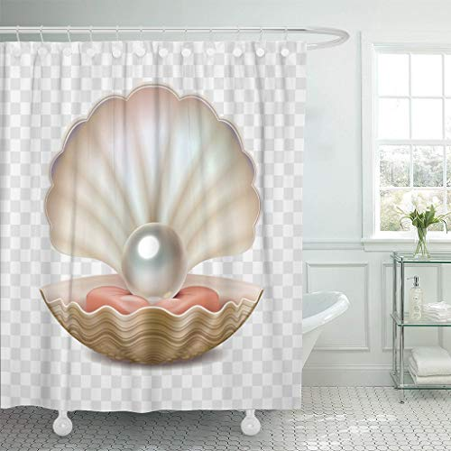 LongTrade Cortina de baño Shower Curtain Shower Curtain Seashell Realistic Beautiful 3D Opened Shell Shining Pearl Inside Waterproof Polyester Fabric Set with Hooks 48