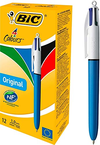 BIC 4 Colori Original Penne a Sfera a Scatto, Punta Media (1.0 mm), Confezione da 12 Penne, Fornitura per Ufficio