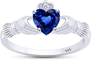 Jewel Zone US Simulated Sapphire & White Cubic Zirconia Claddagh Ring in 14K Gold Over Sterling Silver