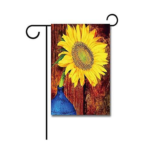 Outdoor Banners,Zonnebloem op een Blauwe Vaas met een Rustieke Houten Achtergrond Tuinvlag 30 X 45 CM
