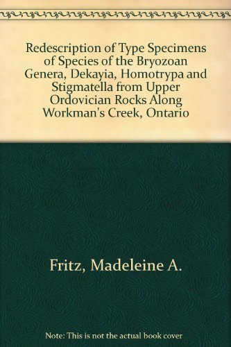 Redescription of Type Specimens of Species of the Bryozoan Genera, Dekayia, Homotrypa and Stigmatella from Upper Ordovician Rocks Along Workman's Creek, Ontario