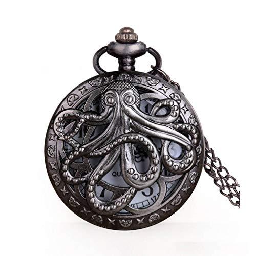YUTRD ZCJUX Vintage Octopus Hollow Half Hunter Reloj de Bolsillo de Cuarzo Steampunk Reloj de Bolsillo Negro con Cadena de Collar Regalo para niños