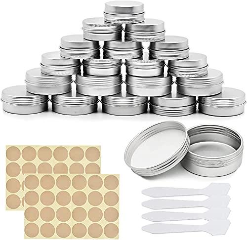 24 Pièces Pots en Aluminium, 15ml + 20ml Pots Cosmétiques Vides avec Couvercles à Vis, Pots Métalliques Vides avec 2 Autocollants Ronds, pour Le Stockage de Crème, Poudre, Bougie, Maquillage