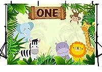 新しい幸せな1歳の誕生日パーティーの背景ジャングルサファリ動物野生の一人の男の子の誕生日の写真の背景動物園の森緑の葉デザートテーブル用品の写真ブースバナー250x180cm