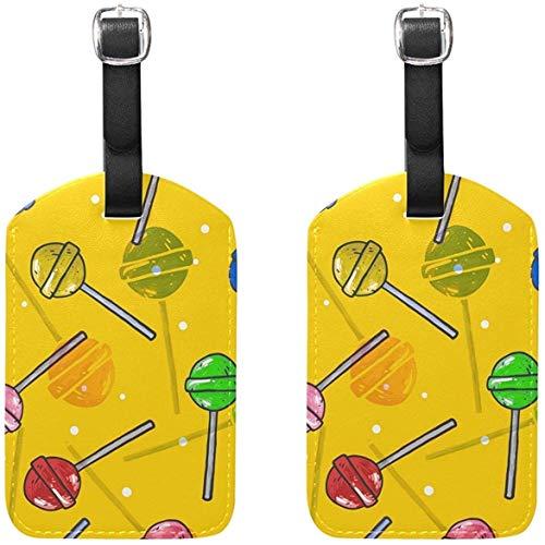 Juego de 2 Etiquetas de Equipaje Lollipops Candy Suitcase Labels Accesorios de Viaje
