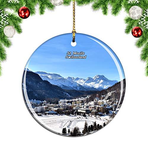 Weekino Switzerland St. Moritz Christmas Xmas Tree Ornament Decoration Hanging Pendant Decor City Travel Souvenir Collection Double Sided Porcelain 2.85 Inch