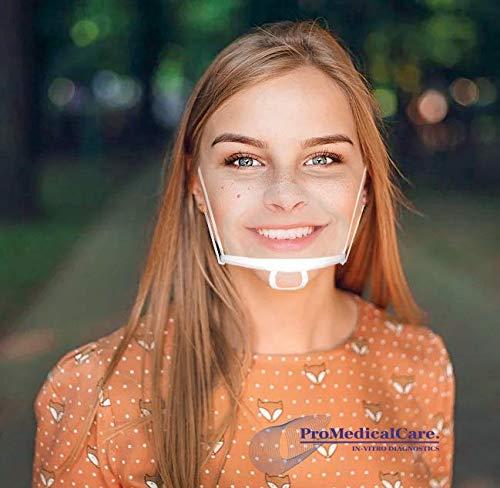 ProMedicalCare Mundschutz Visier 10 Stk. - Mund und Nasenschutz Plexiglas für freies Atmen - Mundschutz kunststoff transparent: Ideal für Gastronomie & Verkauf