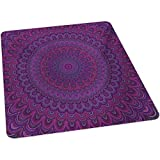 Eggplant Chair mat, Purple Shape with a Kaleidescopic Style Sixties Inspired Oriental Abstract Art, 35' x 47' Floor mat for Office Chair Carpet, Purple