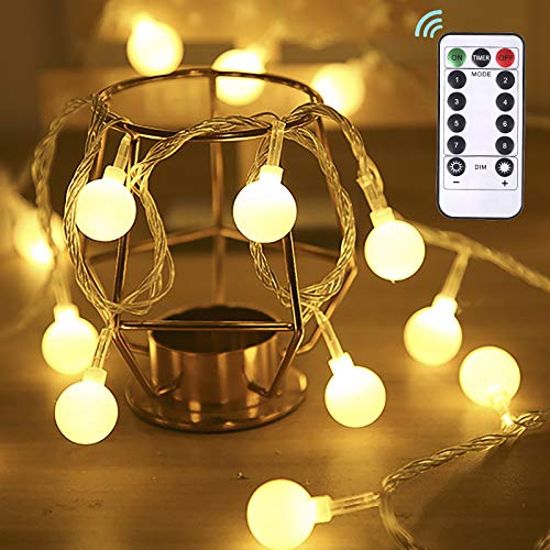 Dailyart Globe String Lights Battery Powered 50 LED Fairy String Lights, 5M, 8 Modes, Waterproof Decorative Light with Remote Control for Garden, Party, Wedding, Indoor, Bedroom and Patio - Warm White