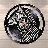 wtnhz LED-Safari Animal Zebra Reloj de Pared con Registro de Vinilo Zebra Art África Animal Salvaje Reloj de Cuarzo Mudo Decoración del hogar para guardería