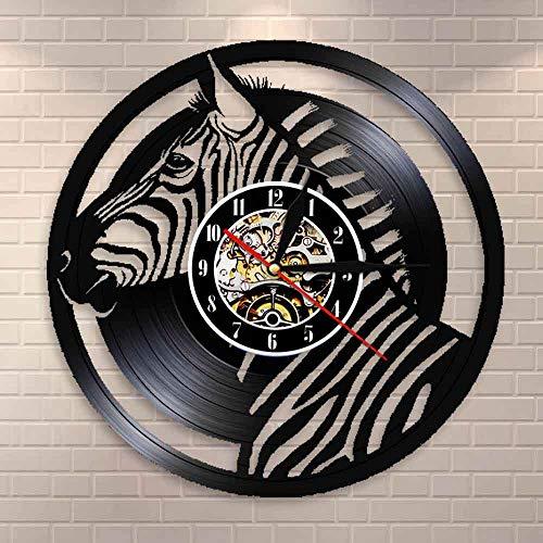 suhang Safari dieren zebra-wandklok pinto paard kunst Afrikaanse wilde dier stille kwartsklok kinderkamer huis decoratie Met led.
