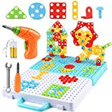 276 Pieces Electric DIY Drill Educational Set, STEM Learning Toys, Creative Mosaic Design Puzzle for Kids, Building toys for Ages 4 5 6 7 8 9 10 Year Old Kids Toddlers Boys Girls, Best Gifts and Games