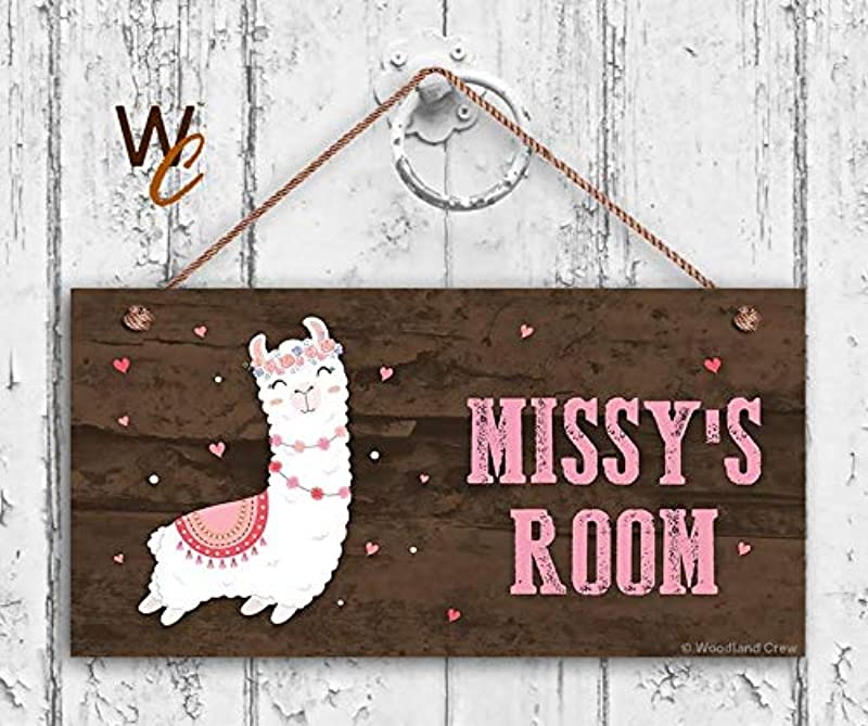 CELYCASY Llama Sign Woodland Personalized Sign Kid S Name Kids Door Sign Baby Nursery Wall Decor 5 X 10 Sign Signs